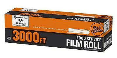 "Food Storage Plastic Cling Wrap Roll 18"" x 3,000' Foodservice Film Service"