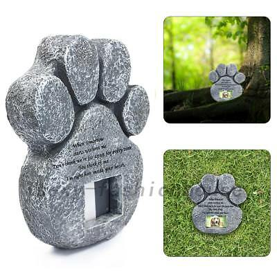 Paw Print Dog Cat Pet Memorial Grave Maker Tombstone Plaque With Photo Frame AU