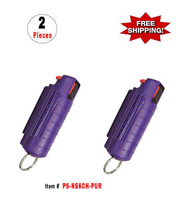 2 Pcs *Purple* Police Magnum .5oz Injection Molded Key Chain Pepper Spray