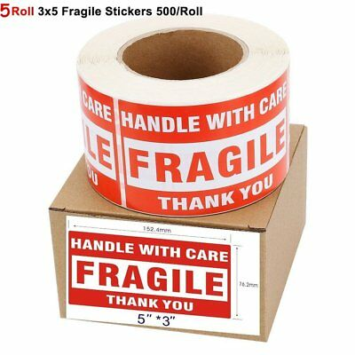 5 Rolls 3″x5″ FRAGILE HANDLE WITH CARE Stickers 500/Roll Easy Peel Apply