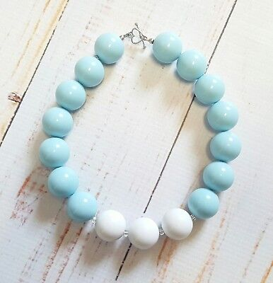 NEW Handmade Chunky Gumball Necklace Child Size Baby Blue White