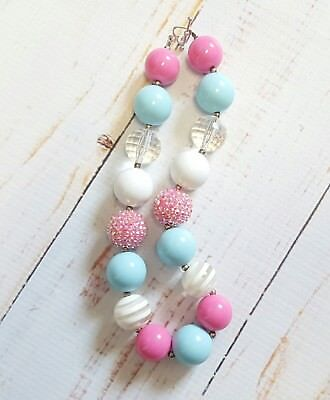 NEW Handmade Chunky Gumball Necklace Child Size Dark Pink Baby Blue White