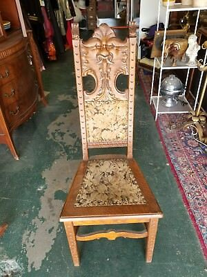 Vintage High Back Intricate Carved Wood Accent Throne Chair