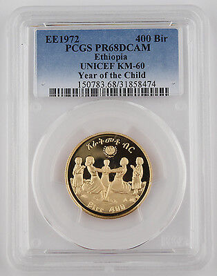 ETHIOPIA EE 1972 0.4968 Oz AGW Gold Proof Coin Year of Child PCGS PR68 PF68 DCAM