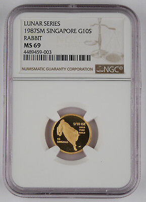 Singapore 1987 SM 1/10 Oz 999 10 SINGOLD Coin Year of Rabbit NGC MS69 GEM