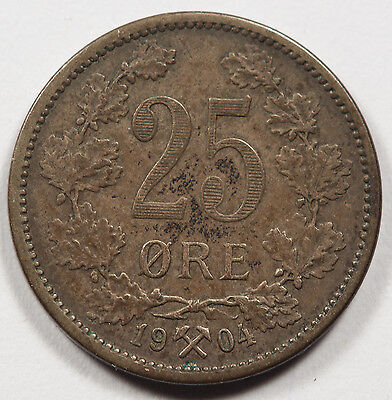 1904 Norway 25 Ore Silver Coin XF+ Nicely Toned KM #360 Scarce Coin High Grade