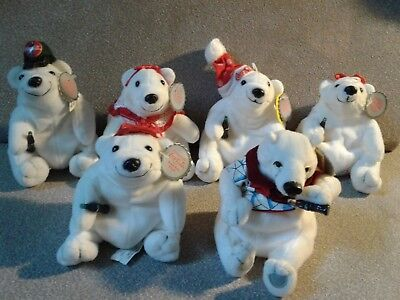 Lot of 6 Coca Cola Bean Bag Plush POLAR BEARS with Tags