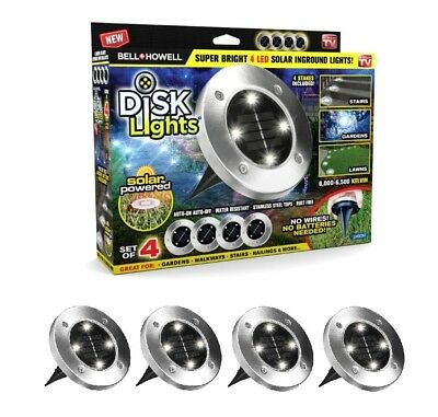 Bell + Howell Disk Lights Solar Powered LED Outdoor Lights, As Seen on TV 4 PACK