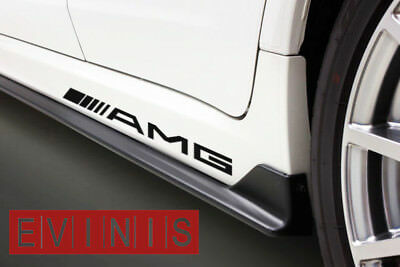 Mercedes AMG 2x Side Skirt Stickers Car Decals Graphics DEFAULT BLACK