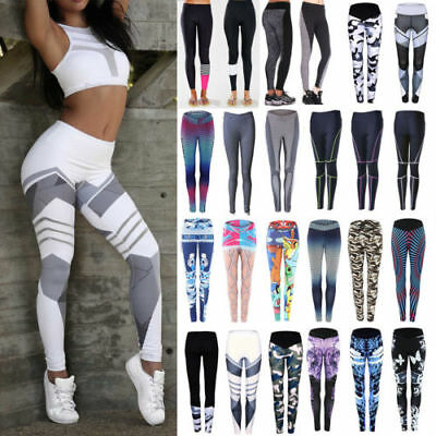 Damen Stretch Leggings Sporthose Yoga Gym Fitnesshose Sport Jogginghose Leggins