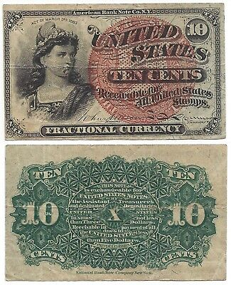 1863 10 Cents U.s. Fractional Currency American Bank Note Co, Ny, Ten Cents