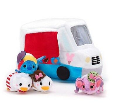 Micro Tsum Tsums Angel, Stitch, Daisy & Donald In Plush Ice Cream Van With Tags