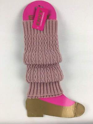 Envy Leg Warmers Pink Dusty Rose 6-8 Cable Knit NEW
