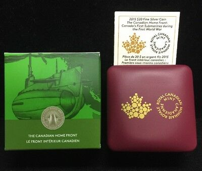 2015 Canada $20 .9999 Coin Canadian Home Front First Submarine