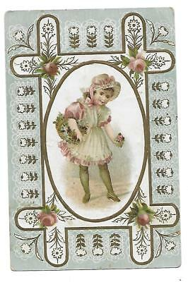 Lion Coffee Victorian Trade Card Embossed Girl,picking Roses