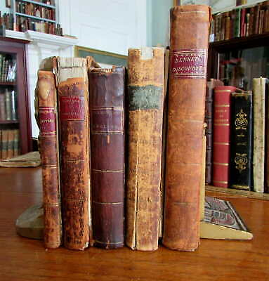 18th Century American Books 1790's old leather bindings collection x5