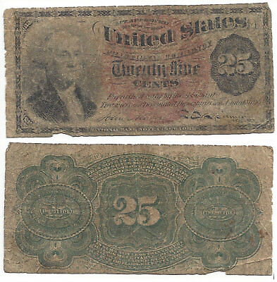 1863 25 CENT US Fractional Currency GEORGE WASHINGTON TWENTY FIVE CENTS NEW YORK