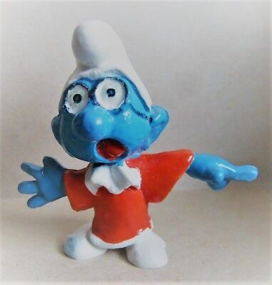 Vintage 70's/80's Lawyer Brainy Smurf in red robe