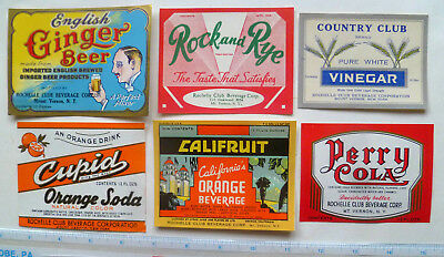 6 Dif. Rochelle Club Beverage Corp. Vintage Soft Drink Labels - Mt. Vernon, Ny