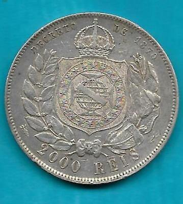 Pedro II  Silver 1889  2000 Reis Crown Coinage of the Realm