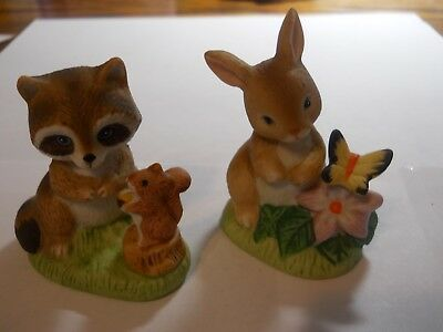 Homco Figurines Bunny & Butterfly - Raccoon & Squirrel Set of 2 # 1418