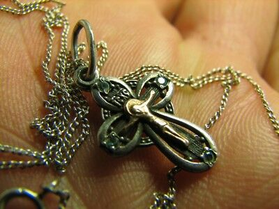 PRAYER ! VERY NICE OLD VINTAGE STERLING SILVER CROSS / STONES with CHAIN  #6991