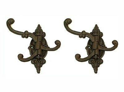 Cast Iron Swivel Wall Hook Bracket with 3 Hooks - Set of 2