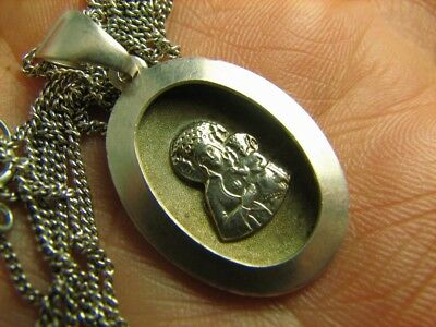 Kazan God's Mother !very Nice Old Vintage Sterling Silver Pendant Chain  #6994
