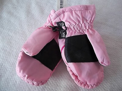 Pink Ski Mittens One Size Water Resistant Thinsulate Snow Infant Girl Baby  New