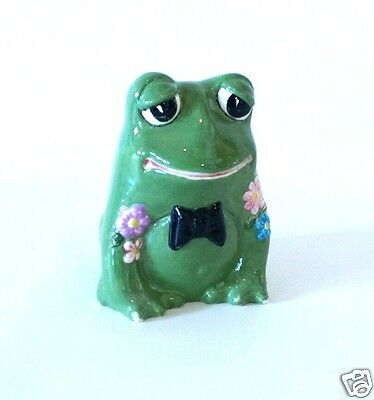 Green Ceramic Frog with Flower & Bow Tie 1940-1960's Hand Painted Collectible