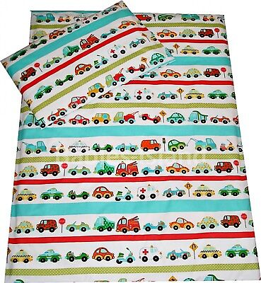 2 Pieces Boys Bedding Set For Cot / Cot Bed Duvet Cover + Pillowcase Blue Cars