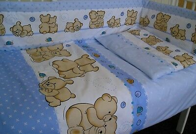 2 Pieces Boys Bedding Set For Cot / Cot Bed Duvet Cover + Pillowcase Blue Teddy