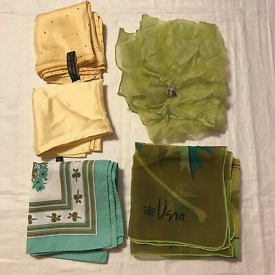 5 Scarves Square Vera Silk Hand Rolled Leaf Green Yellow Floral Vtg Scarf Lot