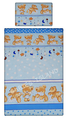 Baby Boys Bedding Set For Cot / Cot Bed Duvet Cover + Pillowcase Blue Bears
