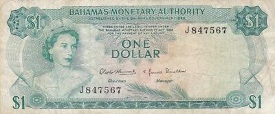 1968 Bahamas $1 Note, Pick 27a.