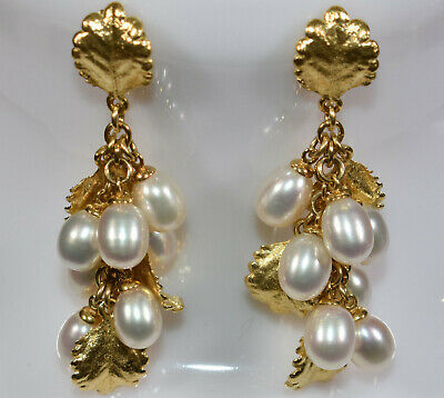 18K Gold Bundled Leaves Dangle Earrings with Freshwater Pearls