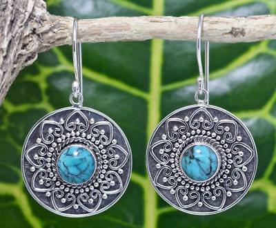 Handmade Sterling silver .925 Bali Round w Heart Dangle Earring w Turquoise  #5