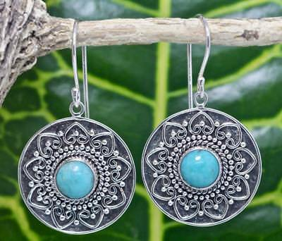 Handmade Sterling Silver .925 Bali Round Dangle Earrings wTurquoise  #4