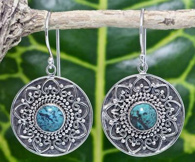 Handmade Sterling Silver .925 Bali Round Dangle Earrings w Turquoise Gem.  #3