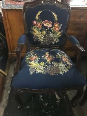 Mahogany French Louis Fauteuil Style  Carved Armchair ..Blue Floral Tapestry
