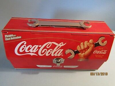 Coca Cola Tin Tool Lunch Box Collectible With Wrench Handle On Top