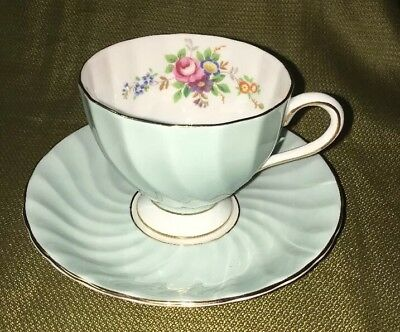 Tuscan Fine English Bone China Light Blue Floral Tea Cup and Saucer Vintage
