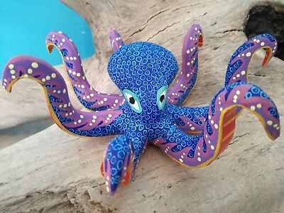 Oaxacan Carving Octopus Fine Wood Carve Animals Hand Made Alebrijes Native Art