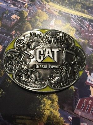Caterpillar Tractor Loader Belt Buckle Metal Yellow Silver US SELLER AND SHIPPER