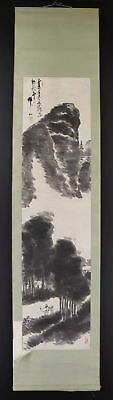JAPANESE HANGING SCROLL ART Painting Scenery Asian antique  #E1198