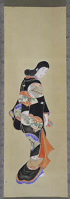 "JAPANESE HANGING SCROLL ART Painting ""Kimono Beauty"" Asian antique  #E1199"
