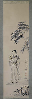 "JAPANESE HANGING SCROLL ART Painting ""Chinese beauty"" Asian antique  #E1200"