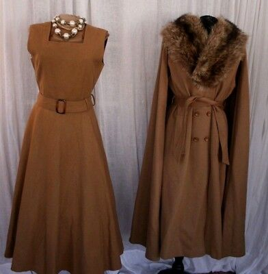 2-pc Vintage 50s 60s Camel Wool Fox Fur Collar Cape Dress Set Outfit S/M