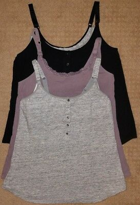 Gilligan & OMalley Lot of 3 Nursing Tank Cami w/ Built-In Shelf Bra - Size Large