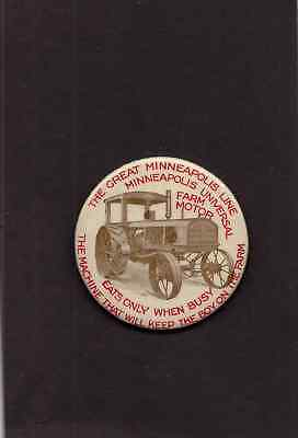 We Have very scarse Glass Back Pinback Great Minneapolis Farm Motor Tractor